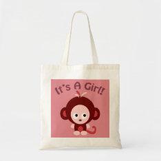 It's a girl! Cute Monkey Tote Bag at Zazzle