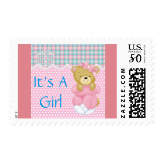 It's a girl cute pink baby shower mother child postage