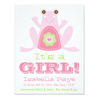 It's a GIRL Cute Pink Green Frog New Baby Card