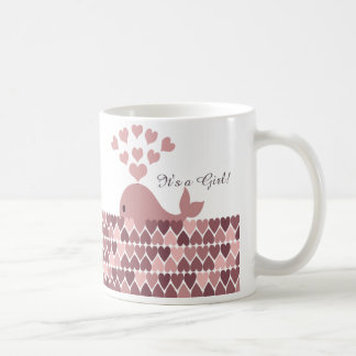 It's a Girl! Cute Pink Whale Classic White Coffee Mug