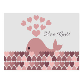 It's a Girl! Cute Pink Whale Postcard