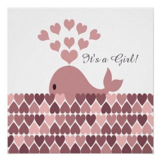 It's a Girl! Cute Pink Whale Poster