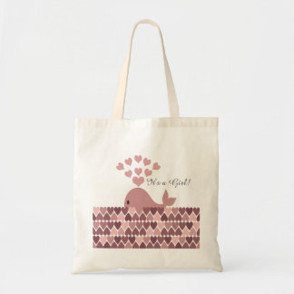 It's a Girl! Cute Pink Whale Tote Bag