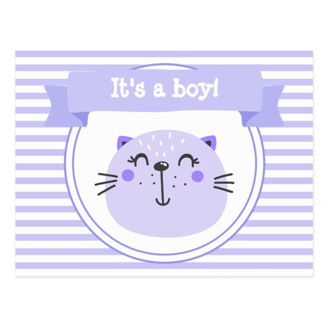 It's a girl! | Cute Purple Cat | Lilac Striped