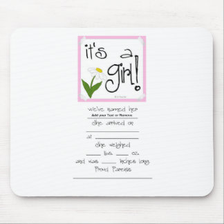 It's a Girl! cute ways to Announce a birth! Mouse Pad