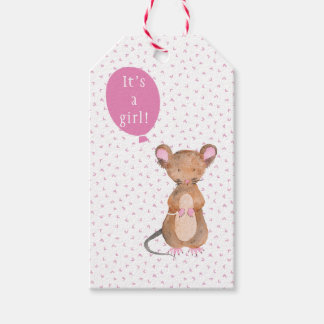 Cute Wood Mouse Baby Shower Gift Tags