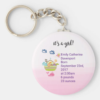 It's A Girl Cute Zoo Animal Ark Birth Announcement Keychain