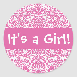 It's a Girl! Damask Envelope Sticker Seal