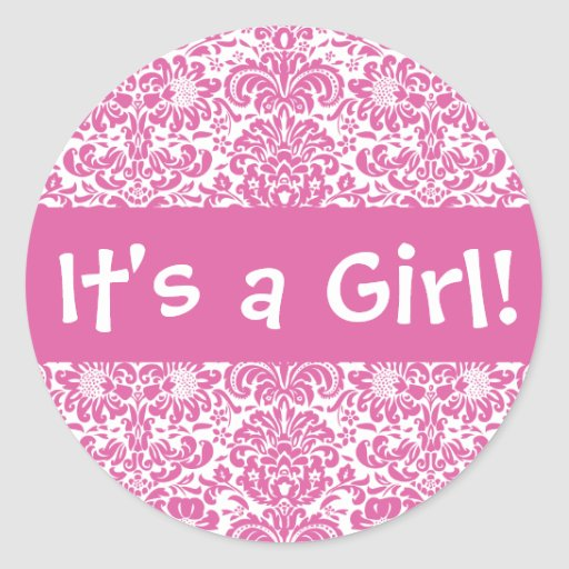 It's a Girl! Damask Envelope Sticker Seal