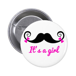 it's a girl design, curly mustache with pink bows pin