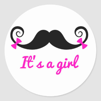 it's a girl design, curly mustache with pink bows classic round sticker