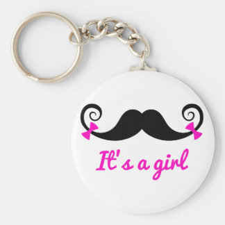it's a girl design, curly mustache with pink bows key chains