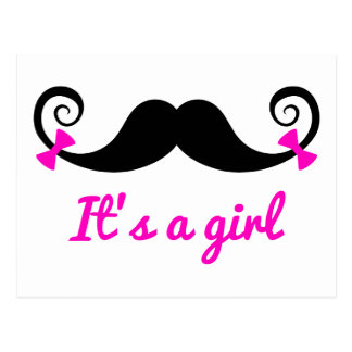 it's a girl design, curly mustache with pink bows postcard