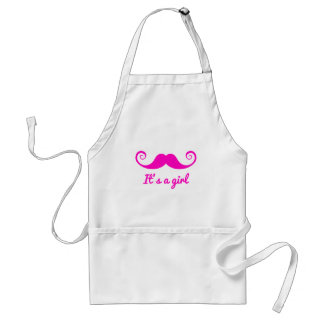 it's a girl design with pink mustache for baby adult apron