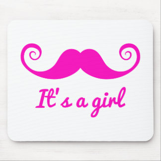 it's a girl design with pink mustache for baby mouse pad