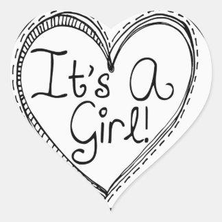 It's A Girl Doodle Milestone Heart Sticker