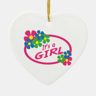 ITS A GIRL Double-Sided HEART CERAMIC CHRISTMAS ORNAMENT