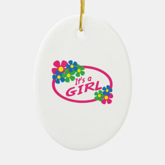 ITS A GIRL Double-Sided OVAL CERAMIC CHRISTMAS ORNAMENT