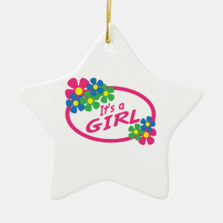 ITS A GIRL Double-Sided STAR CERAMIC CHRISTMAS ORNAMENT