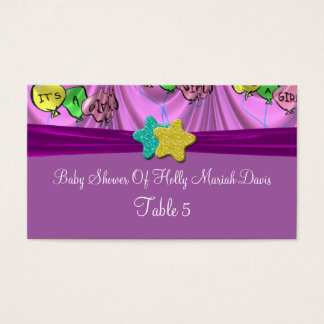 It's A Girl Draped Balloons Table Business Card