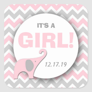 It's a Girl elephant shower or announcement favors Square Stickers