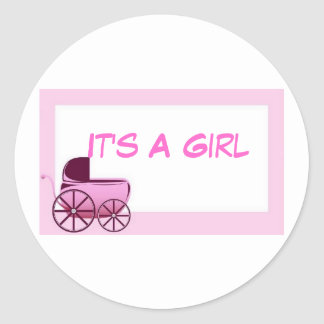 It's A Girl  Envelope Seals Classic Round Sticker