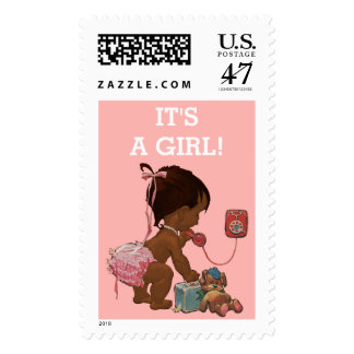 It's A Girl Ethnic Baby on Phone Baby Shower Postage