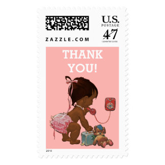 It's A Girl Ethnic Baby on Phone Thank You Postage