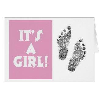 It's A Girl Feetprint Card