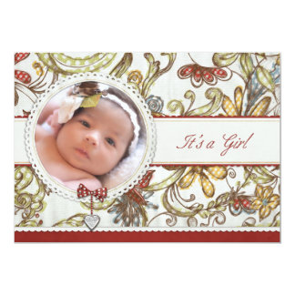 "It's A Girl Floral Birth Announcement 5"" X 7"" Invitation Card"