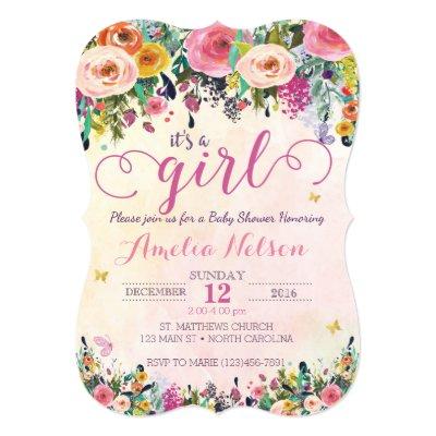 Its a girl floral sunflower garden baby shower invitation zazzle filmwisefo