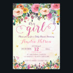 "It&#39;s A Girl Floral Garden Baby Shower Invitation<br><div class=""desc"">This whimsical watercolor butterfly and flower invite will be great for your baby shower!</div>"