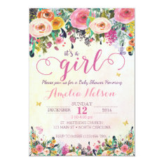 It's A Girl Floral Garden Baby Shower Invitation at Zazzle