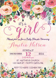 Flower garden baby shower invitations announcements zazzle its a girl floral garden baby shower invitation filmwisefo Images