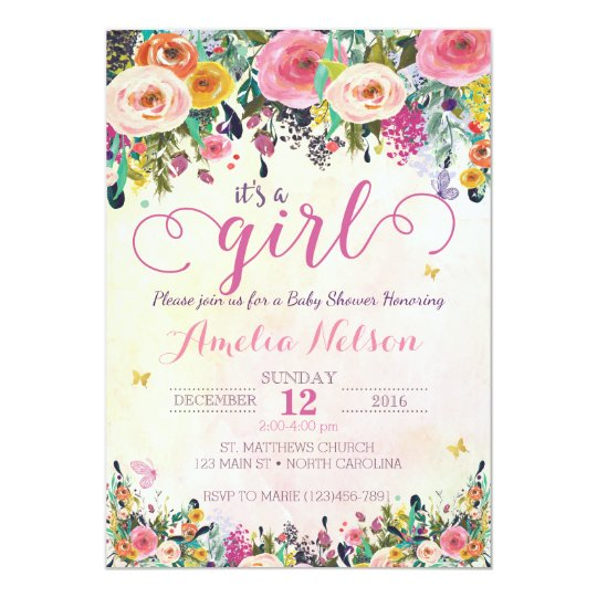 Its A Girl Floral Garden Baby Shower Invitation Zazzlecom