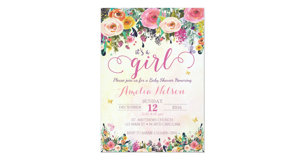 It\'s A Girl Floral Garden Baby Shower Invitation | Zazzle.com