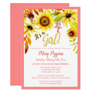 Sunflower baby shower invitations announcements zazzle its a girl floral sunflower garden baby shower invitation filmwisefo
