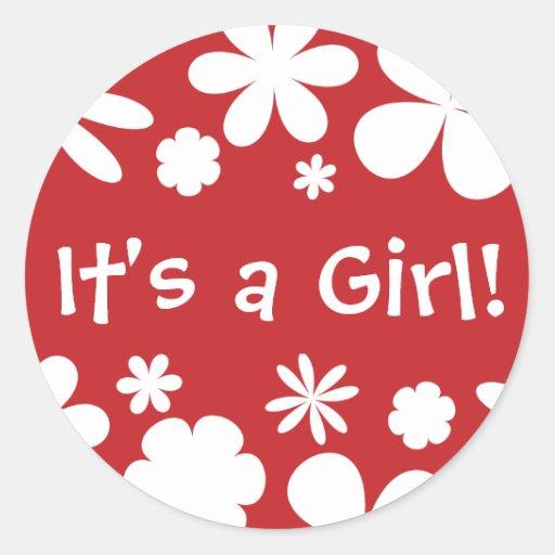 It's a Girl! Flower Power Envelope Sticker Seal