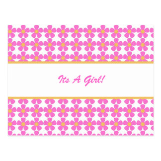 Its A Girl Flowers Postcard