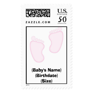 It's a Girl Footprint Postage Stamp