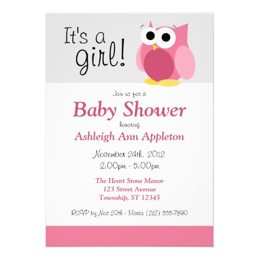 it 39 s a girl funny pink owl baby shower invitation 5 x 7 invi