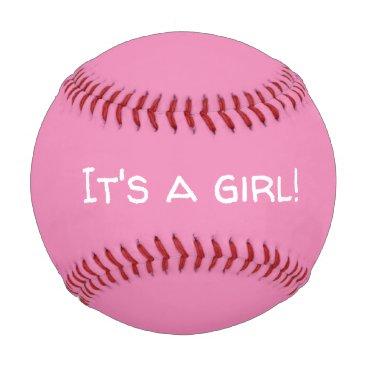 It's A Girl Gender Reveal Baseball