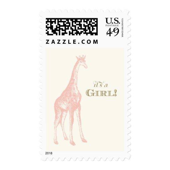 It's a Girl! Giraffe Postage