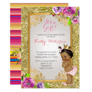 It's a girl Gold Baby Shower Invite
