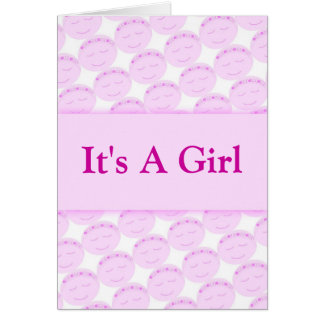 It's A Girl Happy Face Card