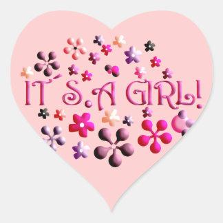 Its a Girl Heart Sticker