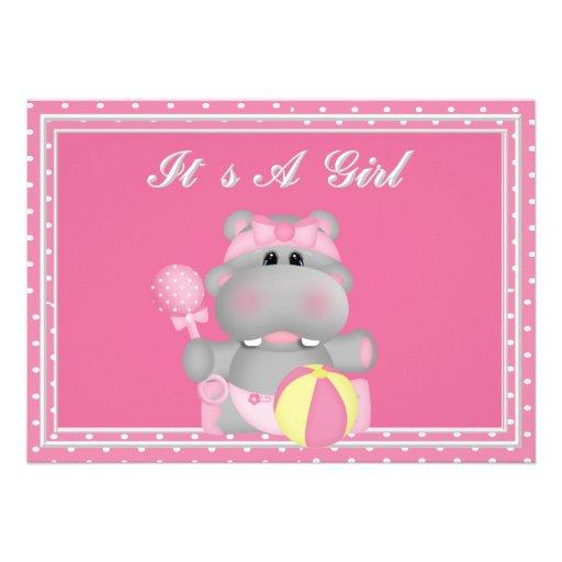 it 39 s a girl hippo baby shower invitation 5 x 7 invitation car