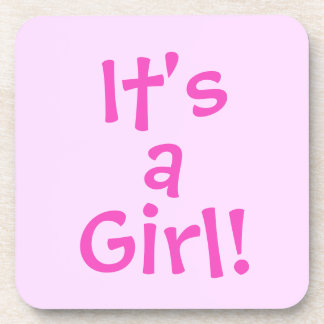 It's a Girl! in Pink Text Drink Coaster