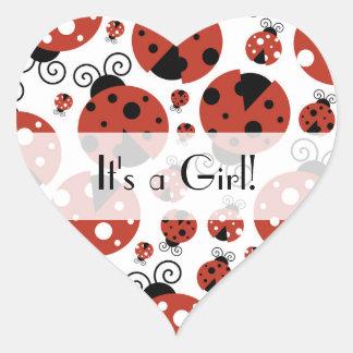 It's a Girl - Ladybugs, Ladybirds - Red Black Heart Sticker