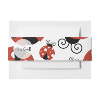 It's a Girl - Ladybugs, Ladybirds - Red Black Invitation Belly Band